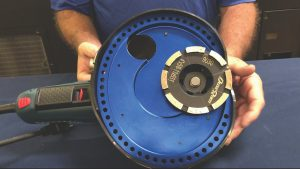 The Small EdgeRam® is shown here mounted to a Bosch® GWS13-50VSP (Paddle Type Switch) 5″ angle grinder. A Bosch® GWS13-50VS (Slide Type Switch) 5″ angle grinder will also work.