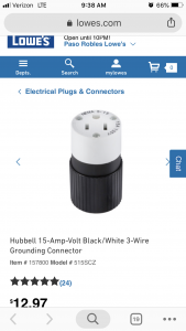 Hubbell 15-Amp 125-Volt Black 3-Wire Grounding Connector