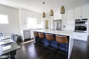 kitchen with dark hardwood floors